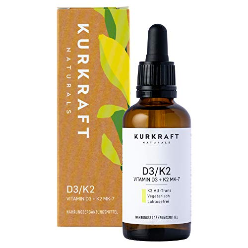 Kurkraft® Vitamin D3 + K2 (50ml flüssig) - K2VITAL® 99,7% All-Trans + laborgeprüftes Vitamin D3 1000 I.E. je Tropfen - Hochdosiert - ohne unerwünschte Zusätze - in Deutschland produziert