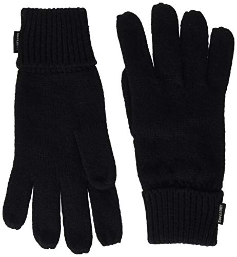 Superdry Damen Heritage Ribbed Gloves Winter-Handschuhe, Black, Einheitsgröße