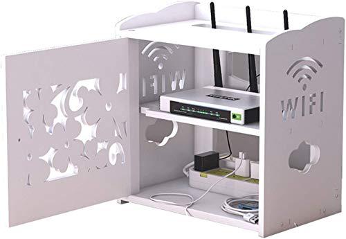LTOOTA Scatola di Immagazzinaggio del Connettore del Cavo del Router WLAN per Il Televisore del Cavo Scaffale per Il Montaggio della Parete della Scatola Superiore, Doppio Strato
