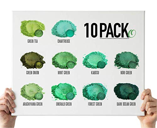 Eye Candy Mica Powder - Green Powder Pigment 10-Pack Set O - Colorant for Epoxy - Resin - Woodworking - Soap Molds - Candle Making - Slime - Bath Bombs - Nail Polish - Cosmetic Grade - Non-Toxic