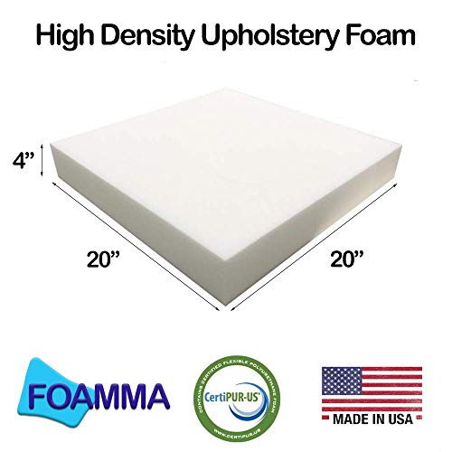 "FOAMMA 4"" x 20"" x 20"" Upholstery Foam High Density Foam (Chair Cushion Square Foam for Dinning Chairs, Wheelchair Seat Cushion Replacement)"