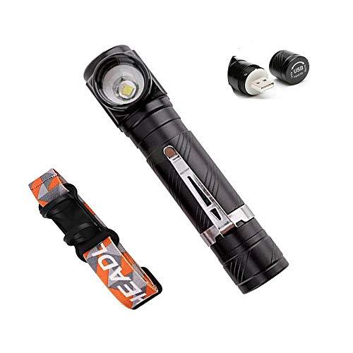 mini linterna led recargable pequeña usb cabeza de ángulo recto LED linternas frontal con imán Clip para reparación de coches de camping
