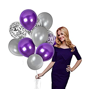 2021 New Year Eve Decorations Silver Purple Balloons 44 Pack 12 Inch Latex Metallic Purple Silver Confetti Balloons Arch for Elephant Birthday Baby Shower Party Wedding Engagement Party 2021 Graduation Decor