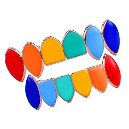 D DOLITY - 1 par de tapones multicolor 18 K Punk para parte superior e inferior con tiras de silicona