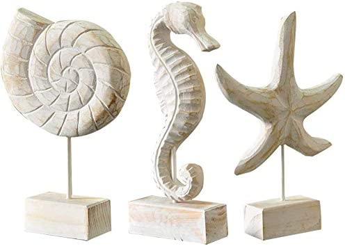 Creproly 3Pcs Modern Wood Sculpture Home Decor Statue Starfish Conch Seahorse Figurines Beach product image