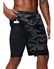 Danfiki Heren Running Shorts, Workout Running Shorts voor Mannen, 2-in-1 Stealth Shorts, Gym Yoga Outdoor Sport Shorts - grijs - M