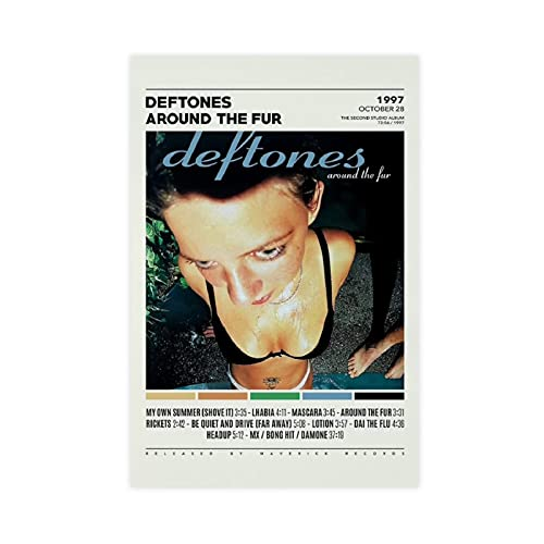Affiche sur toile Deftones Around The Fur 38 - Décoration murale pour salon, chambre à coucher - Sans cadre : 60 x 90 cm