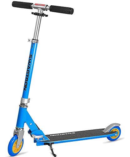 Swagtron K1 Two-Wheel Kick Scooter for Kids & Teens, Adjustable for 40' to 72', ABEC-9 Bearings, Next Gen Fold-n-Lock System + Kickstand, Dark Blue