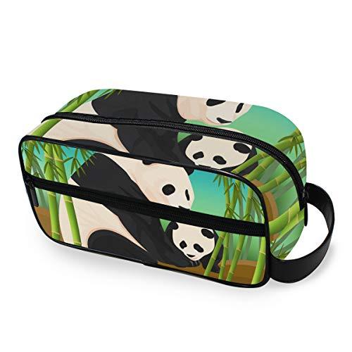 Voyage Panda Mère Fils Bambou Forêt Outils Cosmétique Train Case Portable Trousse De Toilette Maquillage Sac Boîte De Rangement