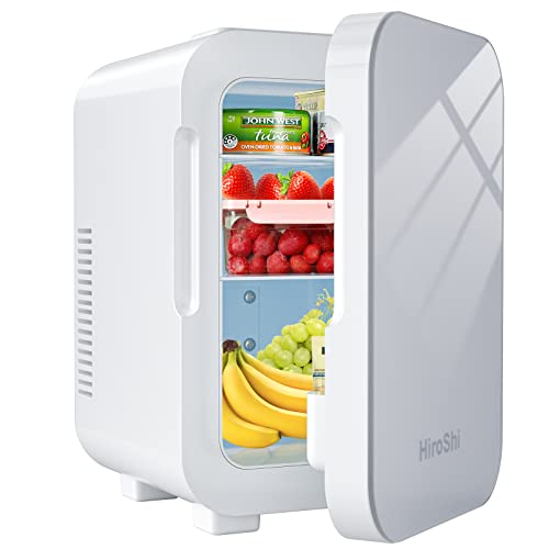 Mini Kühlschrank, 8L Tragbarer Fridge mit Kühl/Heizfunktion, AC 220V / DC 12V Mobiler Auto Kühlschrank, 36 dB Geringes Rauschen, für Schlafzimmer, Kosmetik, Muttermilch, Haushalt & Reise