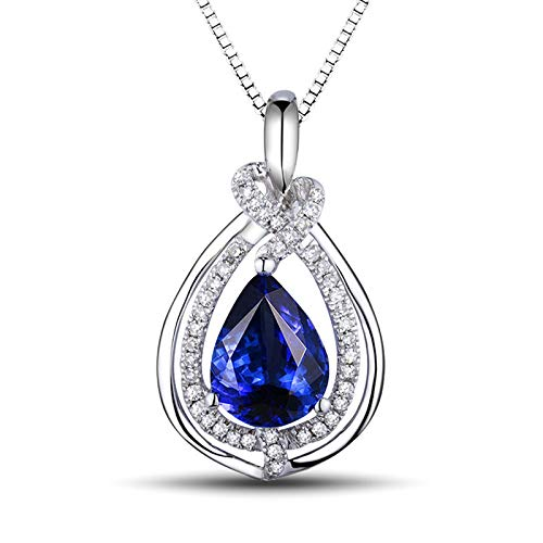 Aartoil 18K White Gold Pendant Necklaces for women Water Droplet with 1.36ct Tanzanite Necklace (Tanzanite: 1.365ct/1pcs)