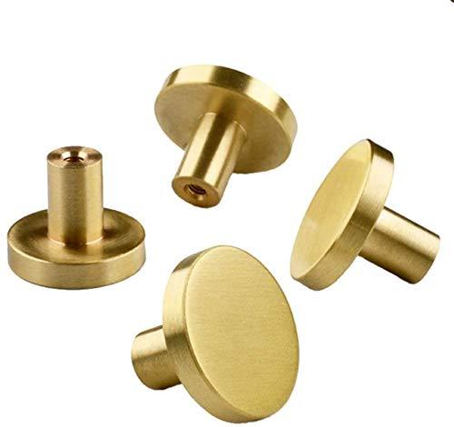 Quyi 4 delar runda skåpknoppar guld lådknoppar - borstad mässing dörrknoppar köksskåp hårdvara moderna skåpknoppar guldknoppar för byråer lådor