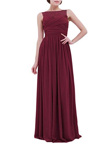 inlzdz Damen Elegantes Chiffon-Spitzenkleid für Hochzeit, Brautjungfer, Abendkleid, Abschlussballkleid, Empire-Stil, langes Kleid Gr. 36, weinrot