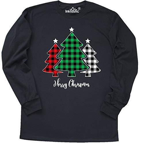 inktastic Plaid Christmas Tree Trio Long Sleeve T-Shirt X-Large Black 394a5