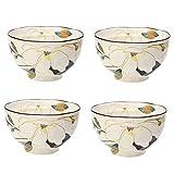 HYFDGV Ciotole per Cereali Insalatiera Ceramica 4pcs insalataio Ciotola Ciotola Ceramica stoviglie per la casa Fiori Fatti a Mano Fiori Piccola Ciotola Dessert Frutta Insalatiera Ceramica (Color : D)