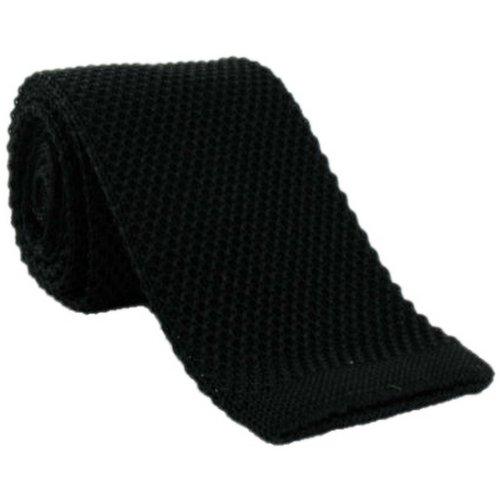 Une cravate étroite en soie tricotée noire Michelsons