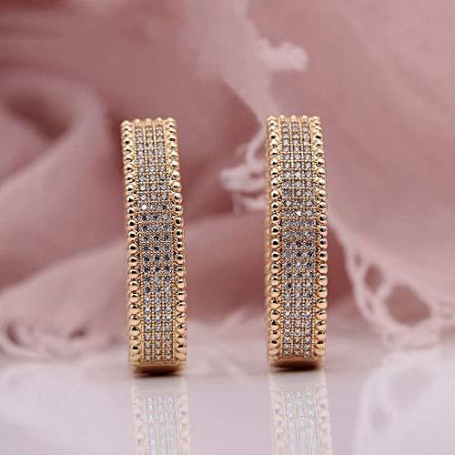 CHQSMZ Earring New 585 Rose Gold Micro Wax Inlay Natural Zircon Long Big Dangle Earrings Women Wedding Party Extreme Luxury Cute Jewelry