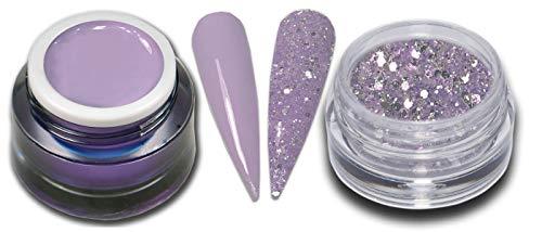 5ml Premium Farbgel Crocus Pastell Lila mit Glitter Puder Set Nagelgel