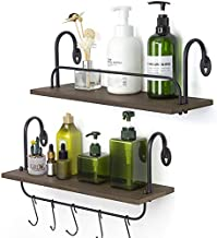 Olakee Floating Wall Shelves for Bathroom Kitchen Coffee Nook with 10 Adjustable Hooks for Mugs Cooking Utensils or Towel Rustic Storage Shelves Set of 2/17x5.9 inch (Weathered Grey)