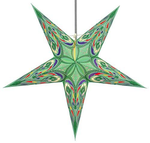Guru-Shop Faltbarer Advents Leucht Papierstern, Weihnachtsstern Alaskana - Grün, 60x60x20 cm, Star Fensterdeko, 5 Spitzen