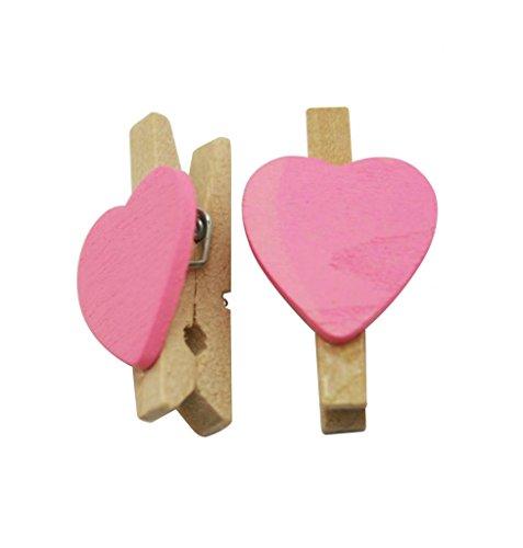 amanteao natur Holz 3cm klein Wäscheklammern Wäscheklammern mit Feder und Pink in Herzform 50Stück