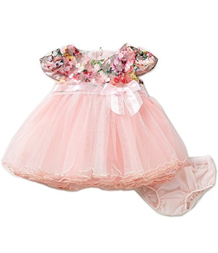 Bonnie Baby Baby Girls 0-3M - 24M Easter Holiday Floral Bonded Lace Ballerina Dress, Pink, 3-6M