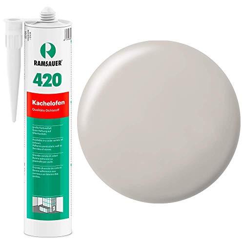 Ramsauer 420 Kachelofen - Profi Acryl Dichtstoff für Kachelofenfugen und Anschlussfugen - 310ml Kartusche (Lichtgrau)
