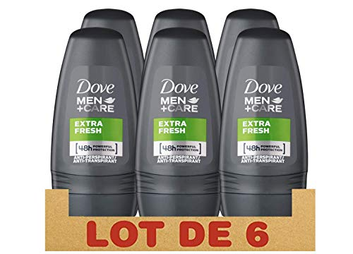 Dove Men + Care Déodorant Homme Bille Extra Fresh Protection 48h, Formule sans Alcool pour les Peaux Sensibles (Lot de 6 x 50ml)