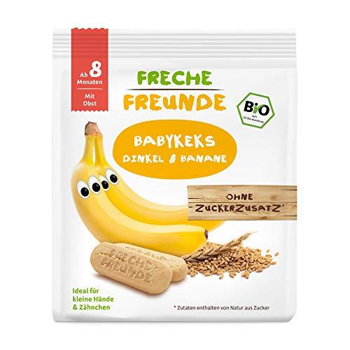Freche Freunde Bio Babykekse Dinkel-Banane, ohne Zuckerzusatz, mit Obst, für Babys ab 8. Monaten, vegan, 7er Pack (7 x 100 g)