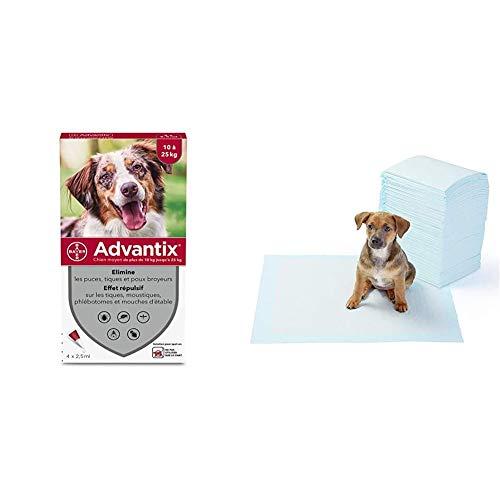 Advantix Spot-on per Cani dai 10Kg ai 25Kg - 4 pipette da 2.5ml & Amazon Basics Tappetini igienici assorbenti per animali domestici, misura standard, 100 pz