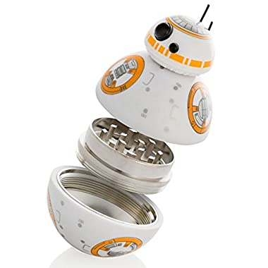 Star Wars Herb Grinder, BB-8 Droid Weed Grinder With Pollen Keef Catcher, Perfect Size 2  3-Pieces, With Stash Storage Container For Weed & Tobacco & Spices - Gift Box