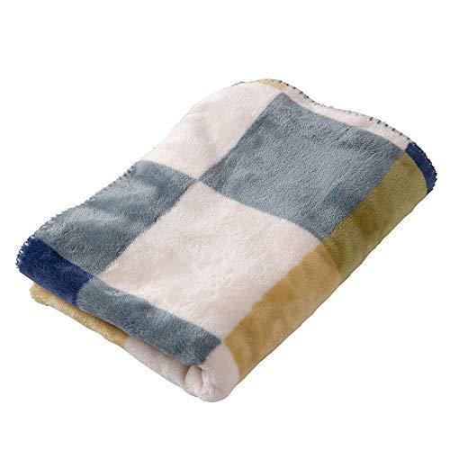 アイリスプラザ ひざ掛け 毛布 ブランケット プレミアムマイクロファイバー とろけるような肌触り fondan 静電気防止 洗える 高密度 品質保証書付き ハーフ 100×70cm チェックグリーン
