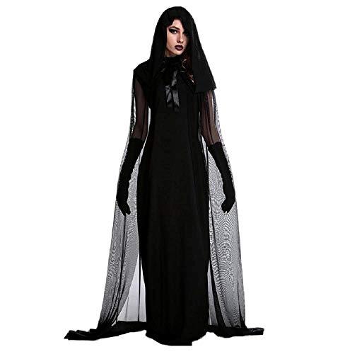 Disfraz de bruja - sacerdotisa - hechicera - morticia - novia fantasma - vampiro - negro - disfraces de mujer - halloween - carnaval - mujer niña - talla xxl - idea de regalo original cosplay