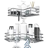 Nieifi Adhesive Corner Shower Caddy Shelf Basket Rack with Hooks, Rust Proof Stainless...