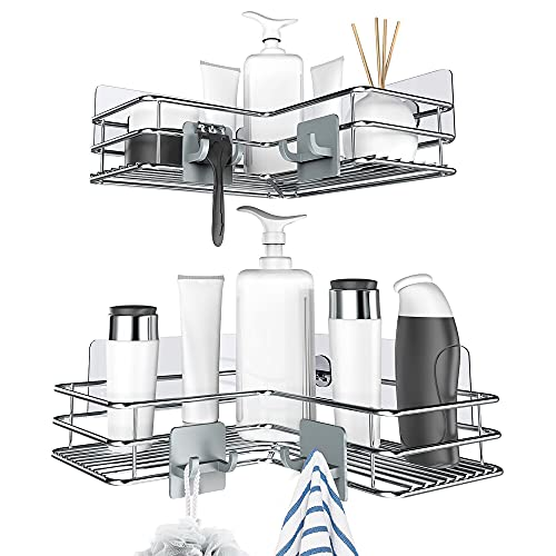 Nieifi Adhesive Corner Shower Caddy Shelf Basket Rack with Hooks, Rust Proof Stainless Steel Bathroom Shelf Shampoo Holder No Drilling 2 Pack