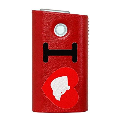 glo グロー グロウ 専用 レザーケース レザーカバー タバコ ケース カバー 合皮 ハードケース カバー 収納 デザイン 革 皮 RED レッド ユニーク 文字 英語 ハート 002990