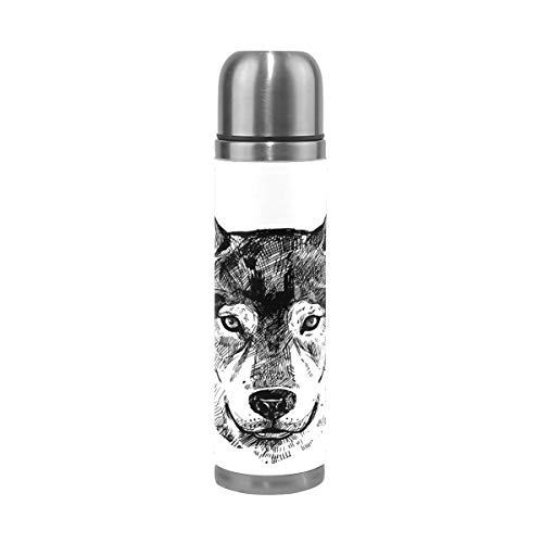 Edelstahl Vakuum-isolierte Flasche Wolf Sketch Portrait-01-01 417 Unzen Thermos hält Wasser kalt für 24 Stunden, heiß für 12 Stunden Kaffee Reise
