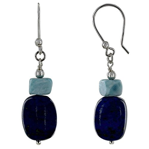 Schmuck Les Poulettes - Sterling Silber Ohrringe Lapis Lazuli Kiesel und Larimar Nugget