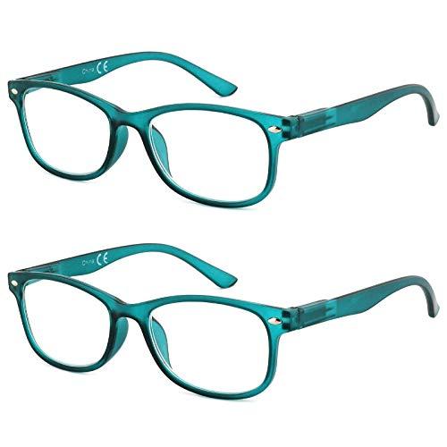 EFE Gafas de Lectura 2 Unidades Anti Luz Azul Gafas para Leer Bisagra de Resorte Ligeras Comodas de Modas Vista de Cerca Hombre y Mujer (+2.0)