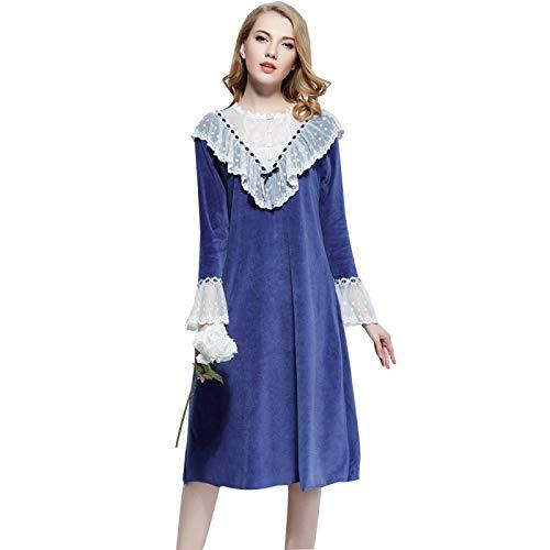 HOMDREAM Damen Nachthemden Victorian Padded Pyjamas Court Cute Lace Elegant Long Nightdress,XL
