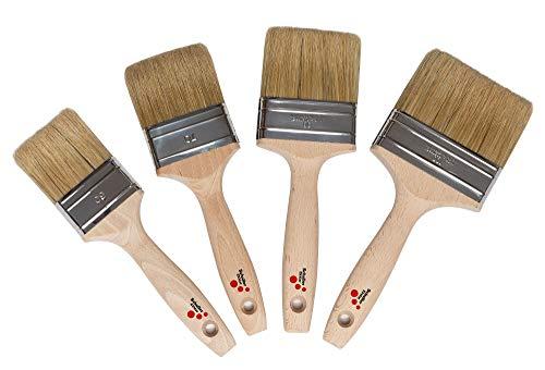 Schuller Eh'klar Pinselset, 4x Premium Malerpinsel (100, 80, 70 und 60 mm), Flachpinsel, made in Germany
