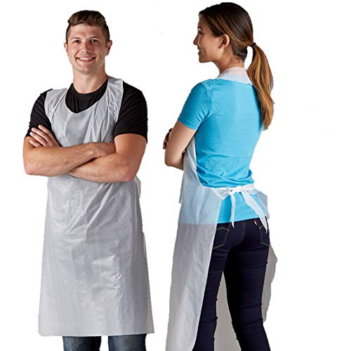 Product Image of the Disposable Poly Aprons 100 pack 28 X 46 inches Large White Protective Apron for Commercial or Household Use - Throw Away for Hair Salon Spa or Art Studio