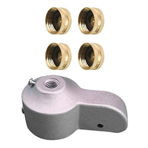 #N/A 4 piezas conector de grifo de latón para conectar a tapas de extremo de 3/4 pulgadas + 1 mástil de bandera de camión.