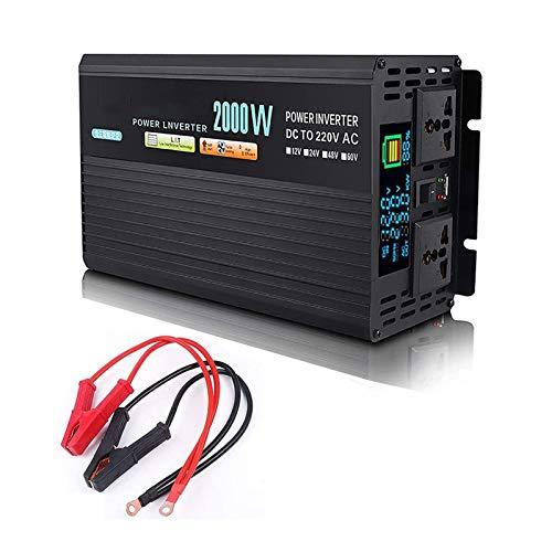 2000-4000W Inversor de energía Onda sinusoidal pura, DC 12V / 24V / 48V a 220V CA, conversor de voltaje de fuente de alimentación con pantalla LCD y tomacorrientes de CA, camión forcar Casa portátil p