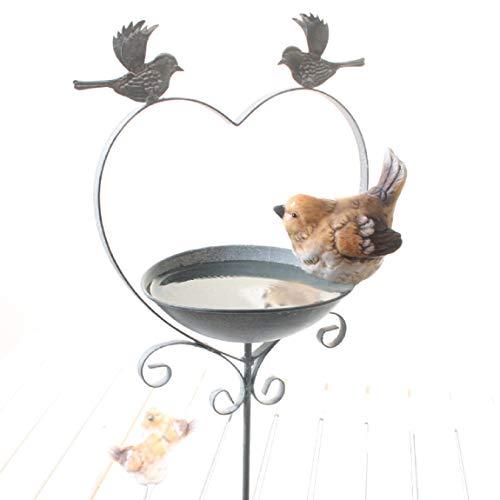 Meisenknödelhalter als Gartenstecker 2 x Vogel auf Herz aus Metall mit Tränke oder Futterstelle