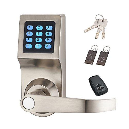 Cerradura de puerta digital HAIFUAN, se puede desbloquear con contraseña, tarjeta, control remoto y llave, la dirección de la manija es intercambiable(HFAD6300-R))