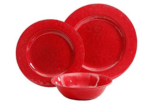 Gibson Studio Mauna Heavy Weight Melamine Dinnerware Set (12 Piece), Red Rustic (Pack of 12)