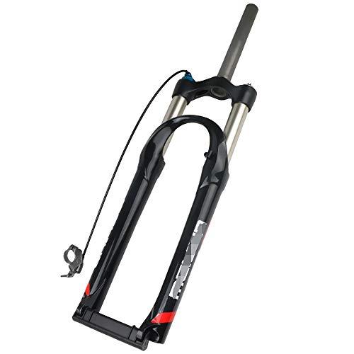 QXFJ Horquilla de Bicicleta MTB Horquilla 26 Pulgadas Bicicleta Bicicleta De MontañA Amortiguador Frente Tenedor LíNea Control PresióN Aceite Bloqueo Tenedor Delantero Carrera 100mm