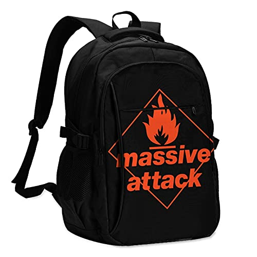EDGHUOEIH Massive-Attack - Mochila de viaje para exteriores, resistente al agua, mochila de viaje con puerto de carga USB/auriculares