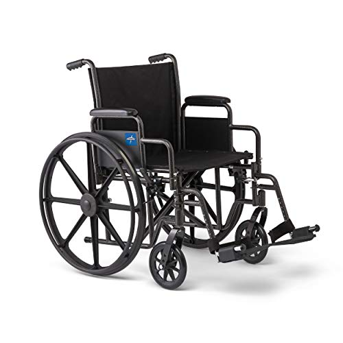 "Medline Strong and Sturdy Wheelchair with Desk-Length Arms and Swing-Away Leg Rests for Easy Transfers, 18"" Seat"